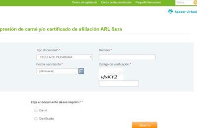SURA certificado ARL